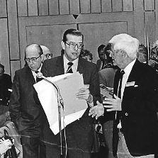 (v. li. n. re.) Prof. Hans Götz, Prof. Wolf Meinhof, Prof. Ferdinand Fegeler